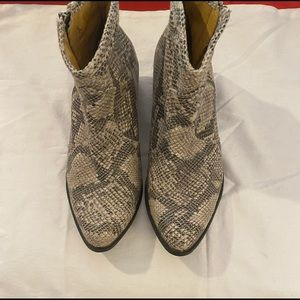 Coconuts Faux Snake Print Ankle Boots
